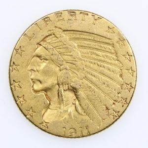 Pièce Or USA 5 dollars Tête d'Indien « Indian Head » Année 1913