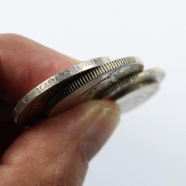 Lot de 4 Pièces françaises Semeuse en Argent 50 centimes + 1 franc + 2 francs + 5 francs