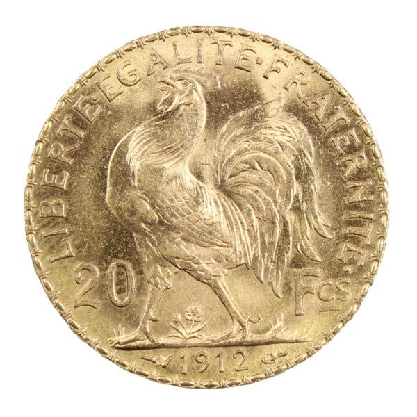 Pièce Or France 20 Francs Marianne Coq Année 1912