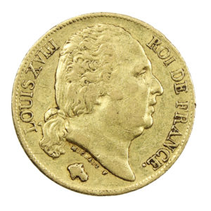 Pièce Or France 20 Francs Louis XVIII 1819 A