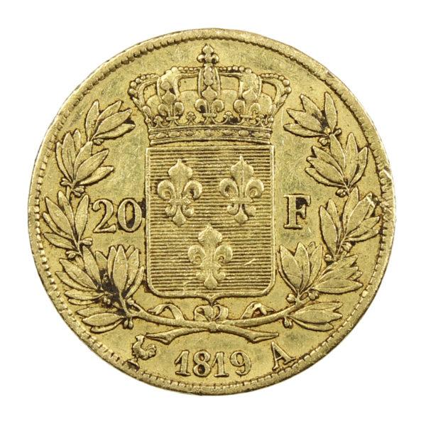 Pièce Or France 20 Francs Louis XVIII 1819 A