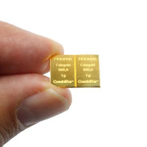 Lot de 2 lingots d'or pur de 1 gramme