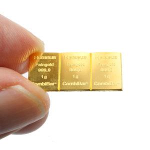 Lot de 3 lingots d'or pur de 1 gramme