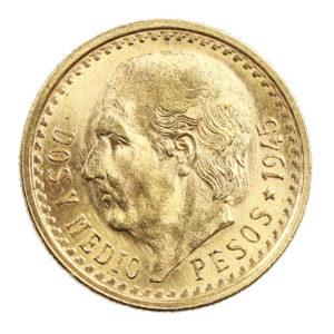 Pièce Or Mexique Dos Y Medio Pesos 1945 2,0833 grammes or pur 900 millièmes
