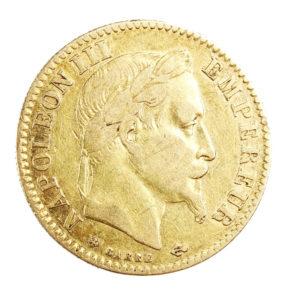 Pièce Or 10 Francs Napoléon III tête laurée 1868 BB