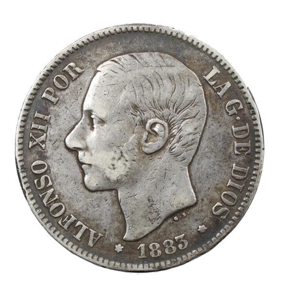 Pièce Argent Espagne 5 Pesetas Alphonse XII 1883