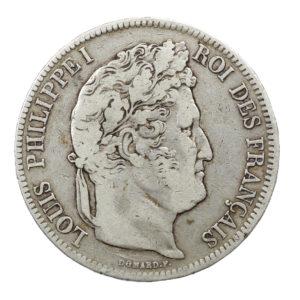 Pièce Argent 5 francs Louis-Philippe I tête laurée Année 1841 W Atelier de Lille
