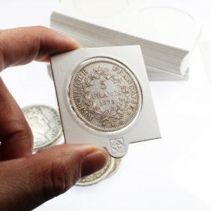 25 Etuis Carton Autocollants Blancs pour pièces de 5 Francs Argent 37 millimètres