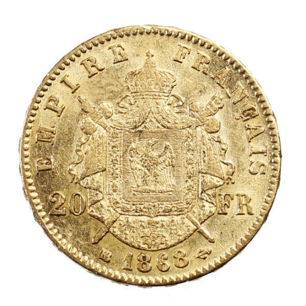 Pièce Or France 20 Francs or Napoléon III tête laurée 1868 BB