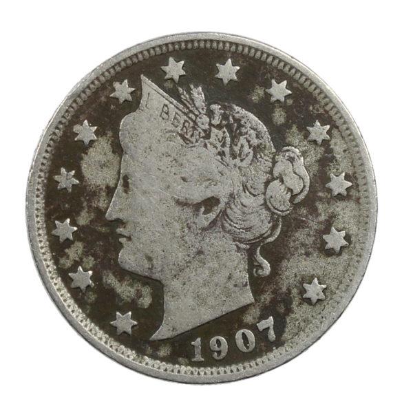 Pièce de Collection Etats-Unis 5 Cents Liberty Nickel 1907 USA