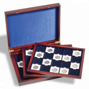 Coffret numismatique Volterra Trio pour 60 capsules Quadrum ou étuis carton 50x50