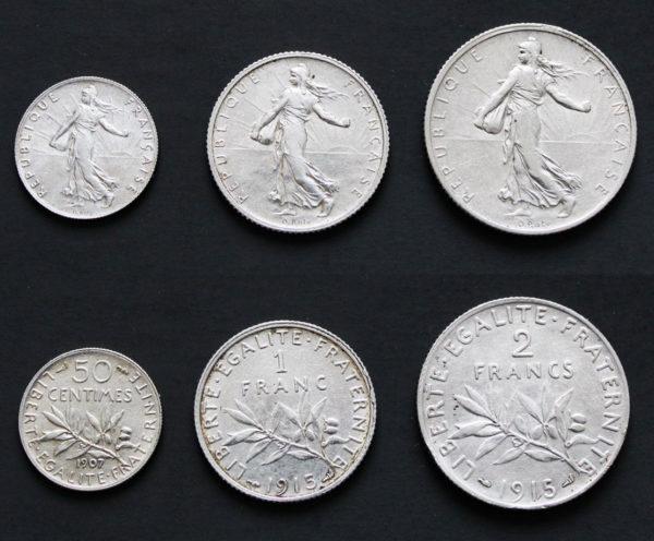 Lot de 3 pièces françaises en argent 50 centimes + 1 franc et 2 francs Semeuse