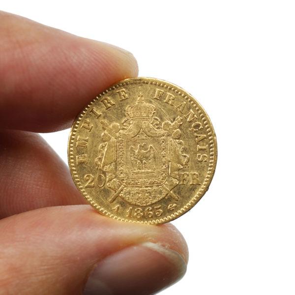 Pièce Or France 20 Francs or Napoléon III tête laurée 1865 A
