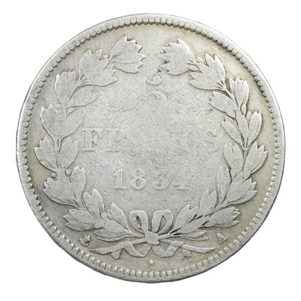 Pièce Argent 5 francs Louis-Philippe I tête laurée 1834 A Atelier de Paris