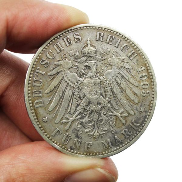 Pièce Argent Allemagne 5 Mark Guillaume II 1903