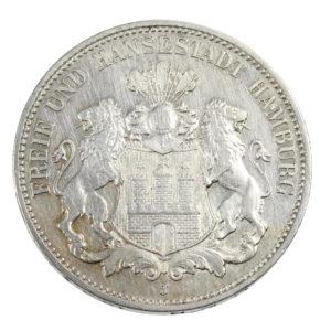 Pièce Argent Allemagne 3 Mark Ville hanséatique libre de Hambourg Année 1908