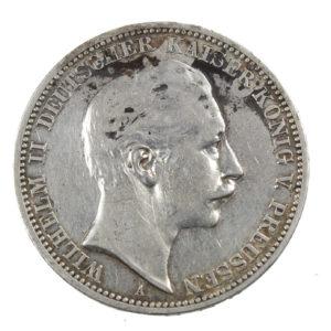 Pièce Argent Allemagne 3 Mark Guillaume II Prusse Année 1909