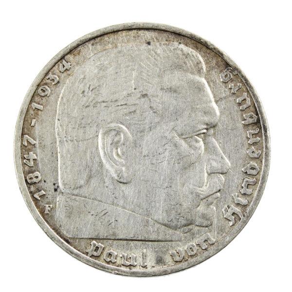 Pièce en Argent Allemagne 5 reichsmark Paul von Hindenburg Année 1936 Atelier de Stuttgart