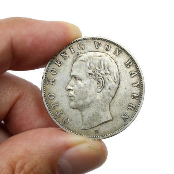 Pièce en Argent Allemagne Royaume de Bavière 3 Mark Otto I Année 1909