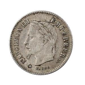 Pièce Argent France 20 centimes Napoléon III Tête laurée, grand module 1867 A