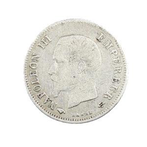 Pièce Argent France 20 centimes Napoléon III Tête nue 1860 A