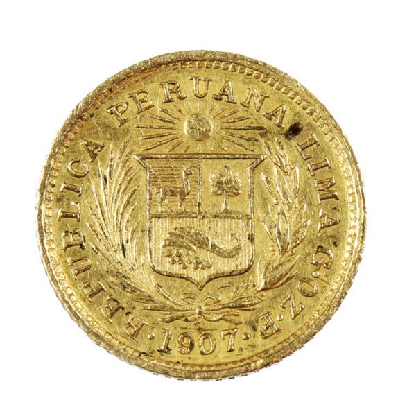 Pièce Or 10 Pérou 1/5eme de Libra Année 1907
