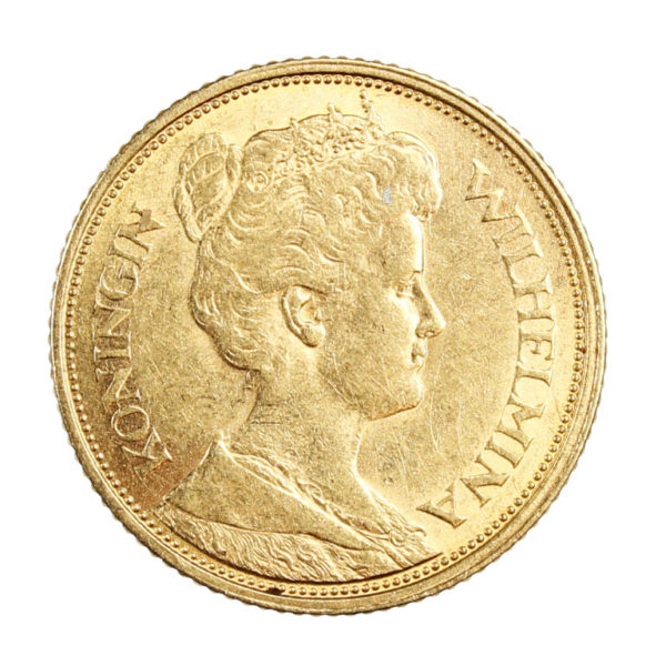 Pièce en Or Pays-Bas 5 Gulden Florins Wilhelmina Année 1912