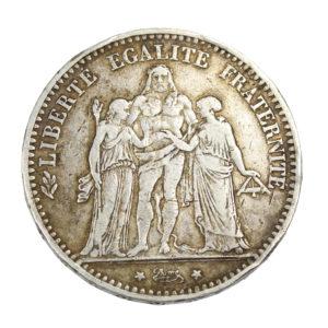 Pièce Argent France 5 francs Hercule 1875 A Atelier de Paris