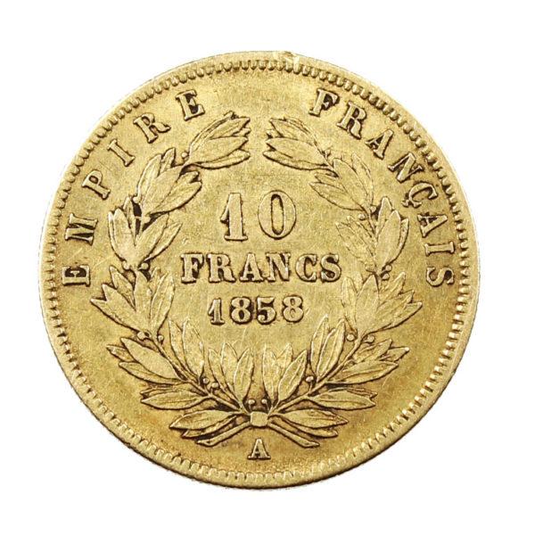 Pièce 10 Francs Or Napoléon III tête nue