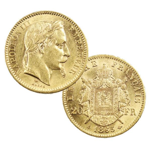 Pièce Or France 20 Francs or Napoléon III tête laurée