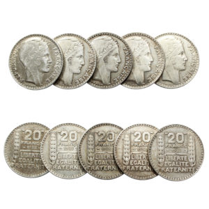 Lot de 5 Pièces en Argent 20 Francs Turin