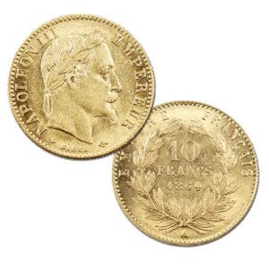 Pièce Or 10 Francs Napoléon III tête laurée