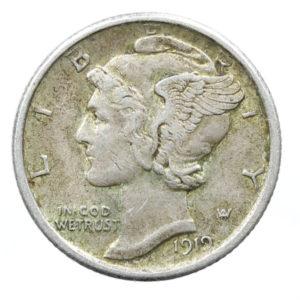 Pièce de Monnaie de Collection en Argent USA Mercury Dime (10 cents) année 1919