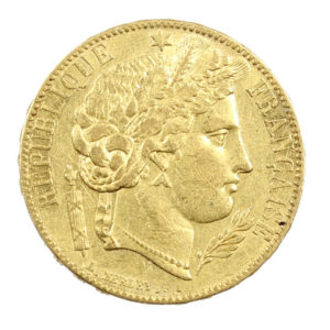 Pièce Or 20 Francs Or Cérès 1849 A Paris