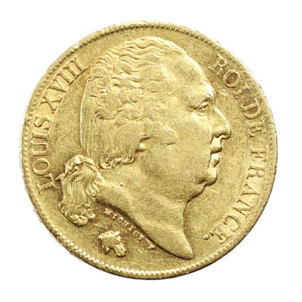 Pièce Or France 20 Francs Louis XVIII 1818 A