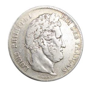 Pièce Argent 5 francs Louis-Philippe I tête laurée Année 1838 BB