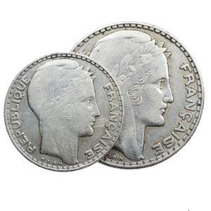 Lot de 2 pièces en Argent 10 francs Turin et 20 francs Turin