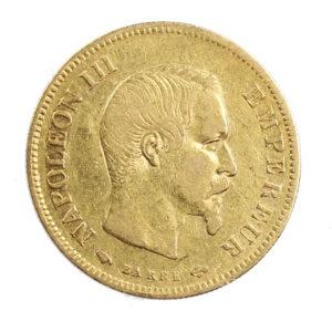 Pièce 10 Francs Or Napoléon III tête nue 1858 A