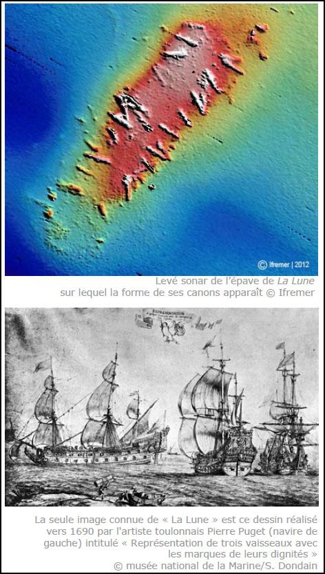 Image sonar de la lune et gravure du vaisseau amiral de Louis XIV