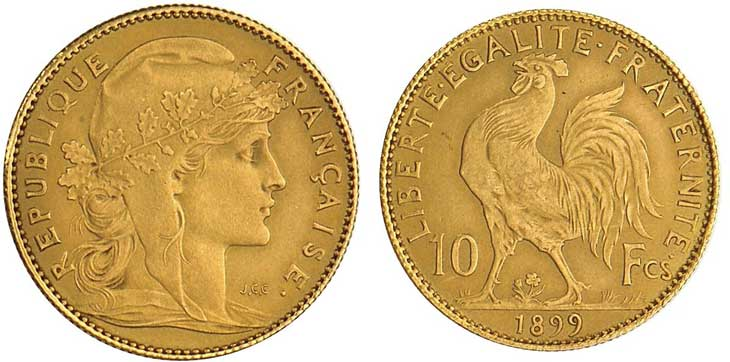 Pièce cotée : pièce de 10 francs or type Marianne