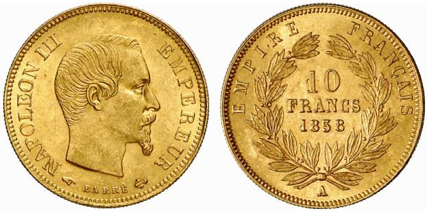 Pièce cotée : pièce de 10 francs or Napoléon III grand module
