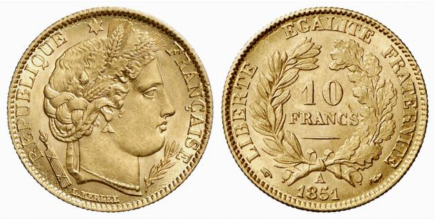 Pièce cotée : pièce de 10 francs or Cérès 2ème République