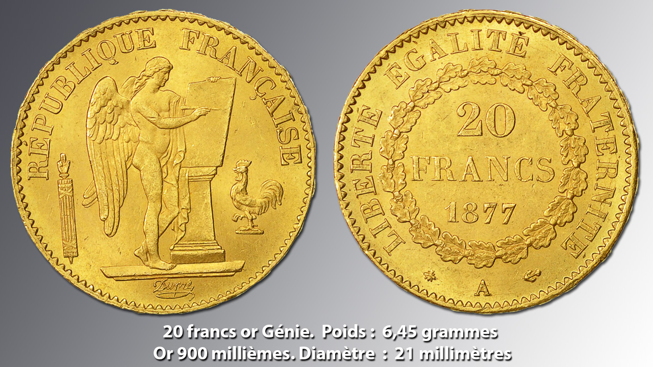 Photo avers revers d'une pièce de 20 francs or Génie