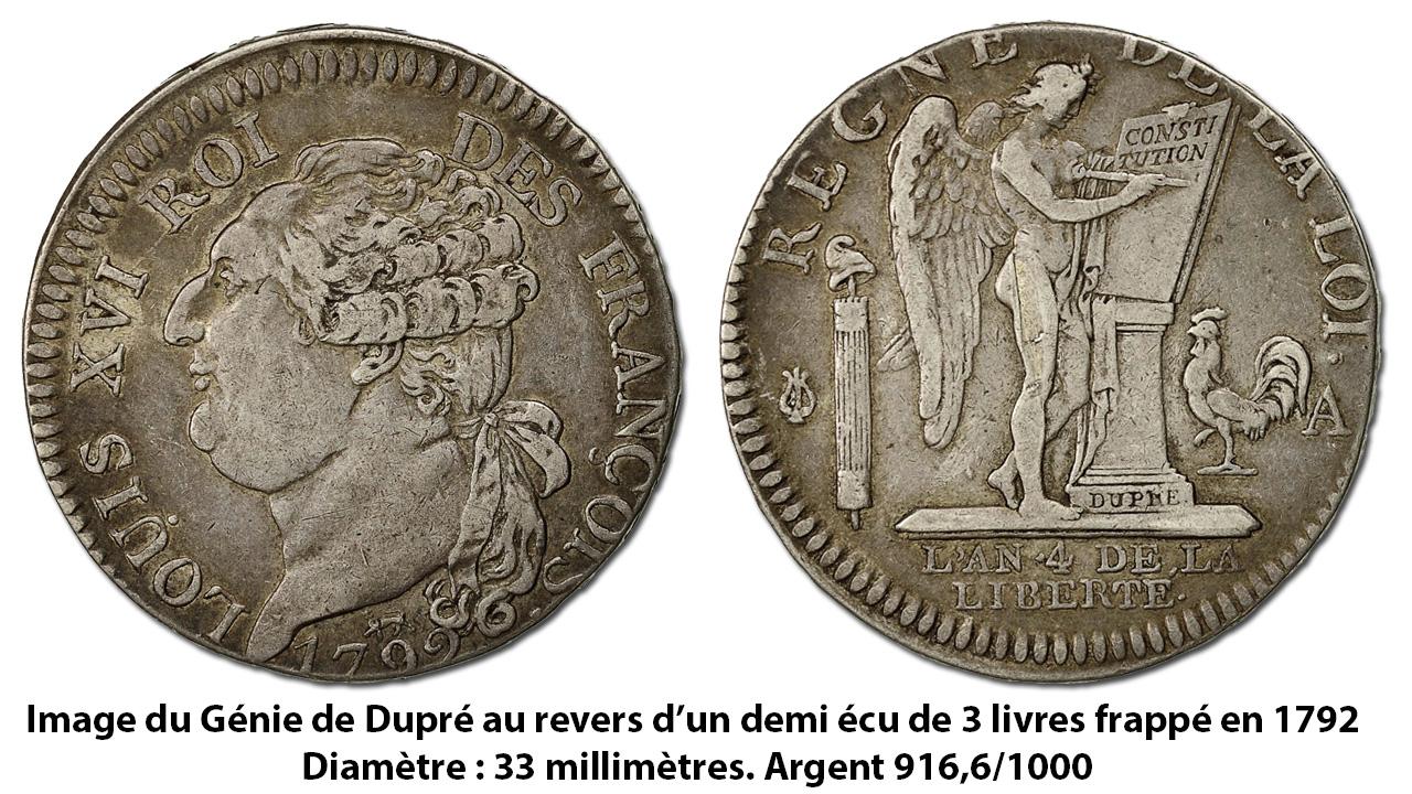 Le Génie de Dupré sur un demi écu frappé pendant la Révolution française