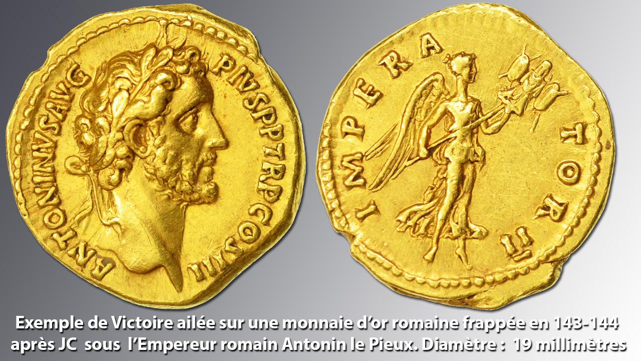 Victoire ailée sur une monnaie d'or romaine