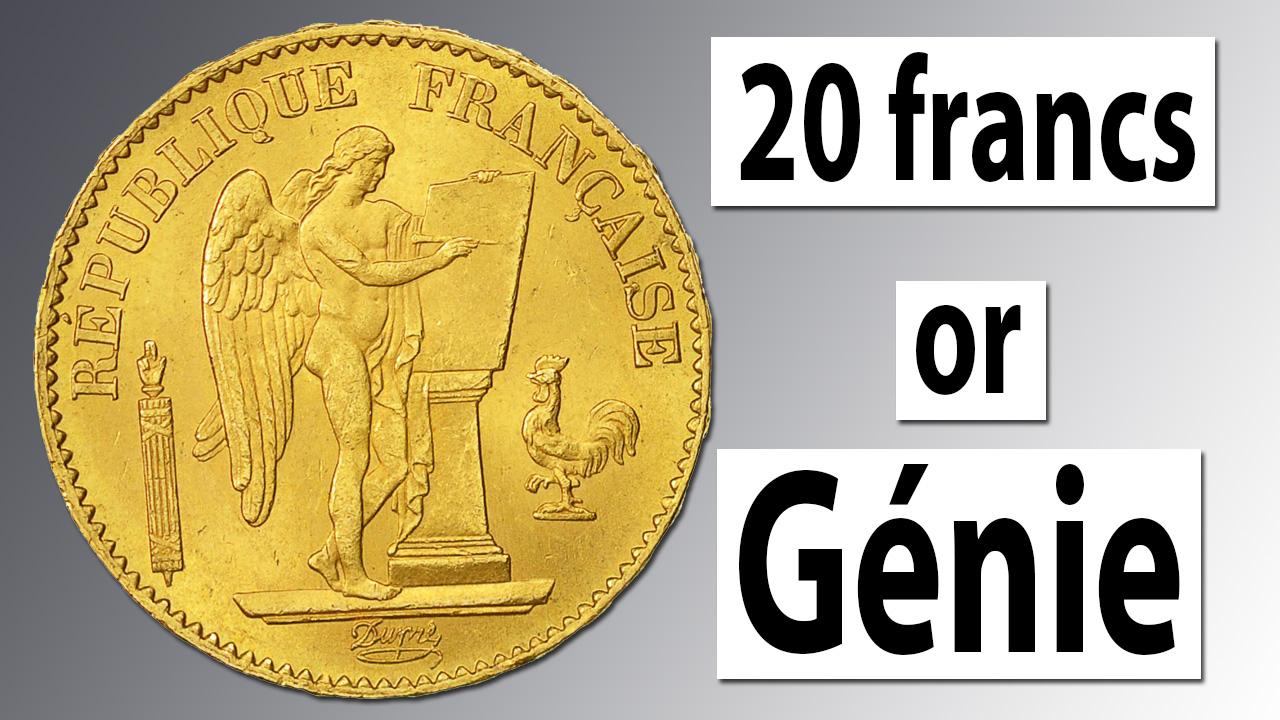 20 francs or Génie : une des plus célèbres pièces françaises