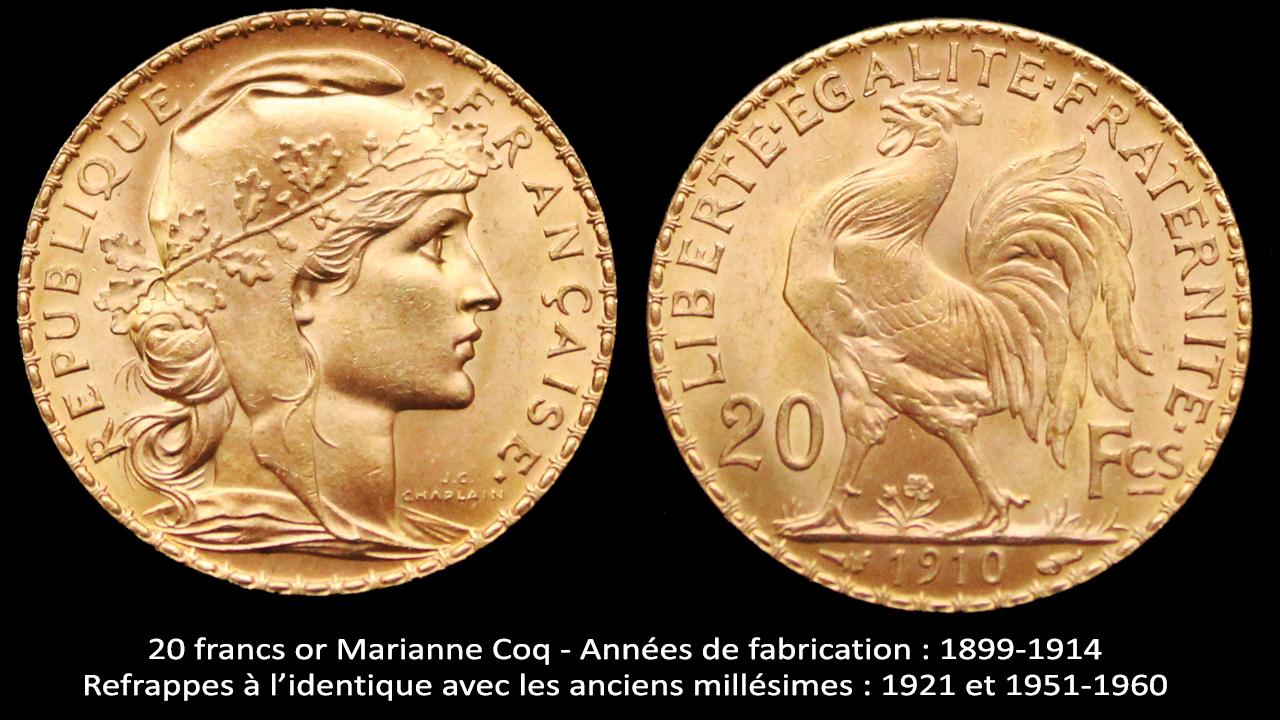20 francs or Marianne Coq : années de fabrication