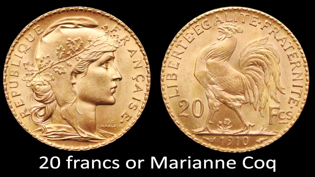 Photo des deux faces d'une pièce de 20 francs or Marianne Coq