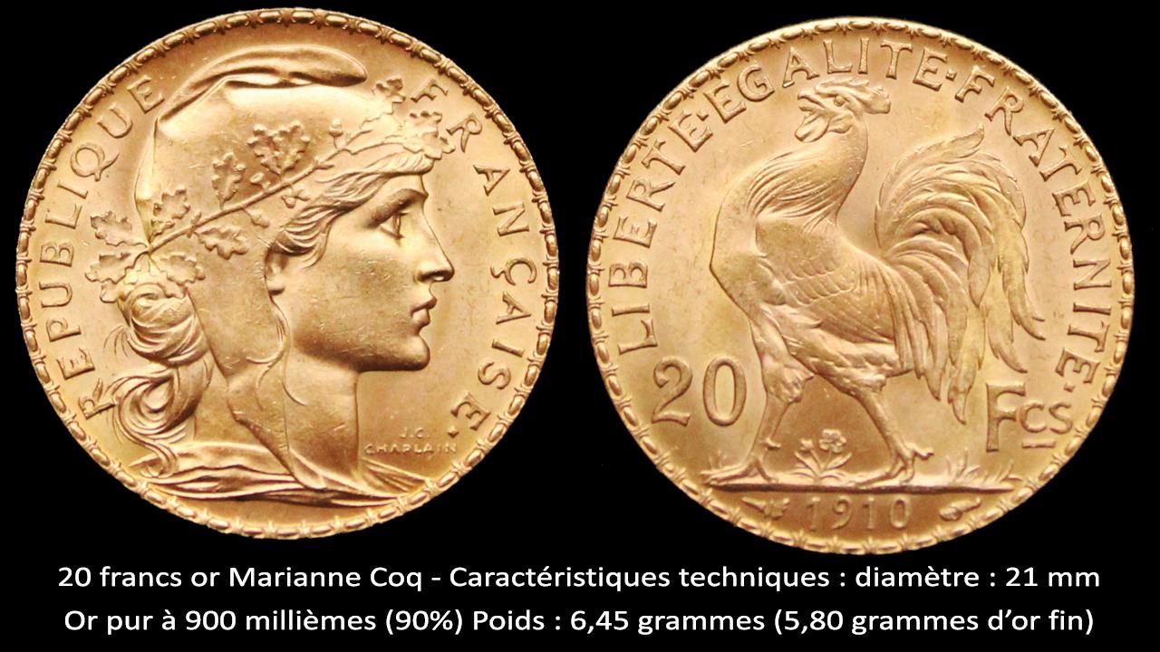 Caractéristiques techniques des pièces de 20 francs or Coq