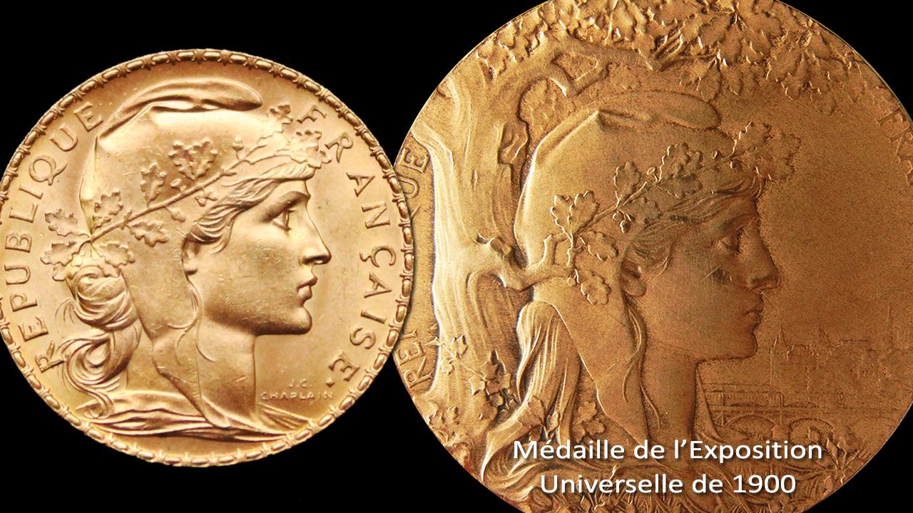 Reprise du dessin des portraits de Marianne sur la médaille de l'Exposition Universelle de 1900